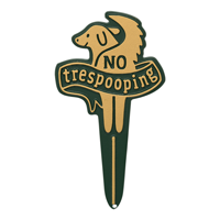 No Trespooping Gardenboss Petite Lawn Stake Sign