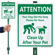 Dog Poop Sign with Graphic