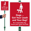 Dog Leash Lawnboss Sign