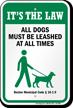 Dog Leash Sign For Massachusetts