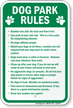 Dog Park Regulation Sign