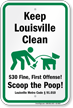 Dog Poop Sign For Kentucky