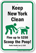 Dog Poop Sign For New York