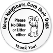 Circular Curb Dog Sign