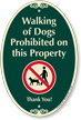 Walking Of Dogs Prohibited On Property SignatureSign