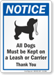 All Dogs Must Be Kept On A Leash OSHA Notice Sign