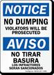 Bilingual No Dumping Violators Will Be Prosecuted Sign