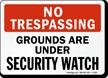 No Trespassing Grounds Sign