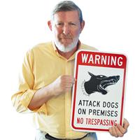 Warning Attack Dogs No Trespassing Sign