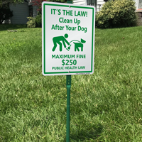 Clean up after your dog sign