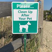 Clean up after our pet dog poop sign
