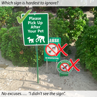 Features of clean up after your pet sign kit