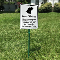 Keep Off Grass, No Dog Pooping Peeing Signs