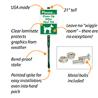 Clean up after your pet dog poop sign for lawn