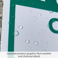 Laminate for lawnboss sign projects graphics from weather