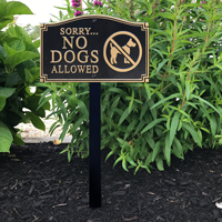No Dogs Allowed Statement Lawn Plaque