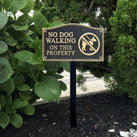 No Dog Walking Statement Plaque With Stake