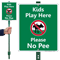 Kids Play Here, Please No Pee LawnBoss Sign
