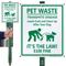 Pet Waste Transmits Disease $100 Fine LawnBoss Sign
