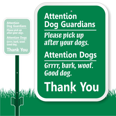 Dog Poop Sign Attention Dog Guardian Pick Up After Dog