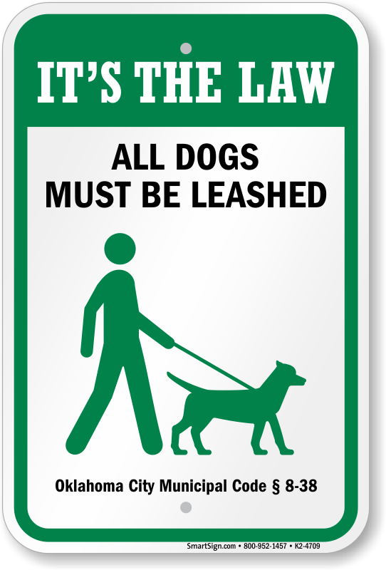 Dog Leash Signs By State   Dog Must Be on Leash Signs By State