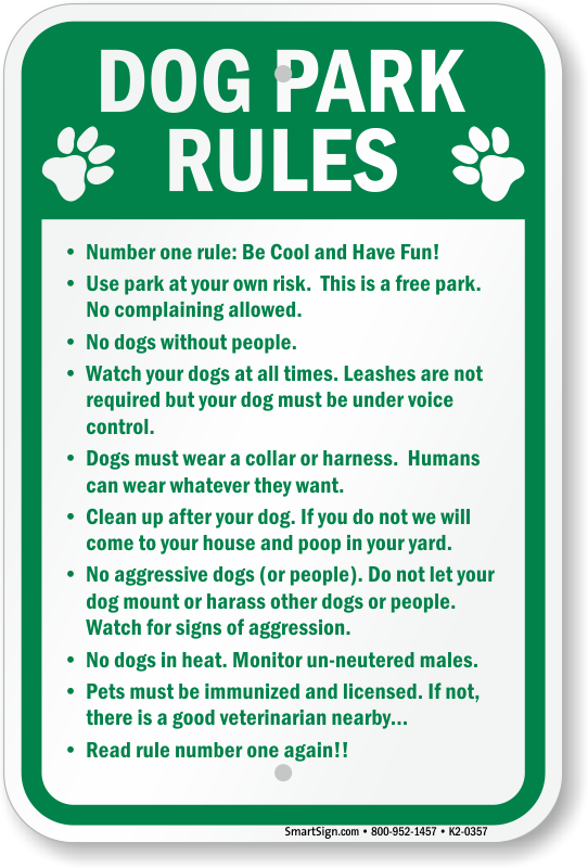 Dog Park Regulations