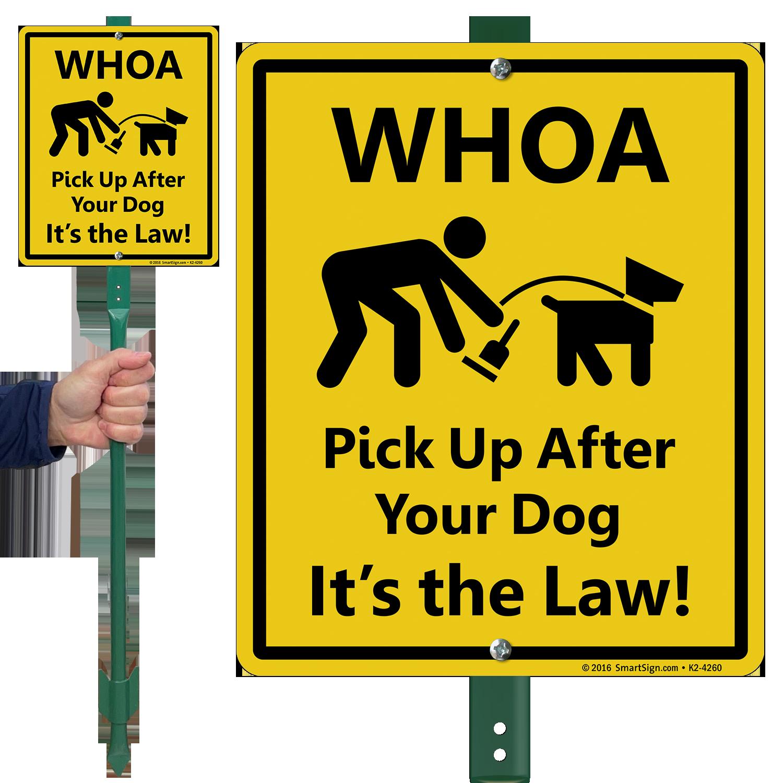 pick up after your dog lawnboss sign sku k2 4260